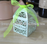 laser cut wedding green favor boxes with green ribbon wedding boxes