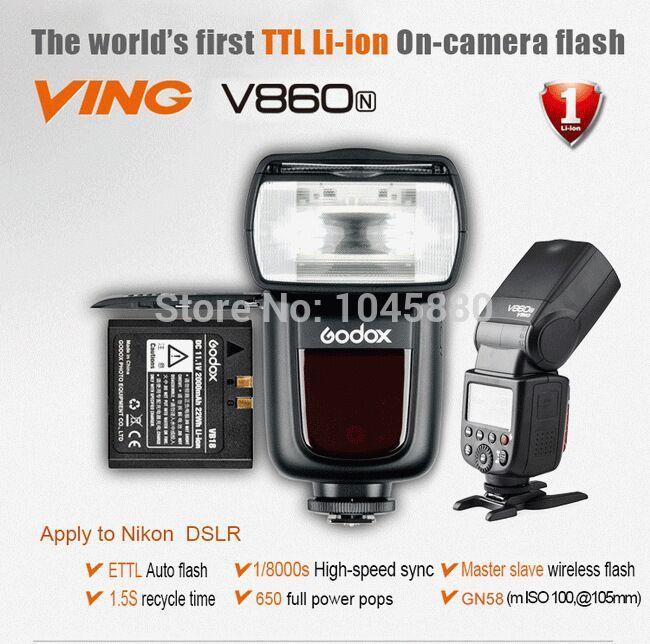 New Godox Ving V860N Recycling High Speed Speedlight E-TTL Li-ion Camera DSLR Flash Light For Nikon Speedlite TTL P0017128(China (Mainland))