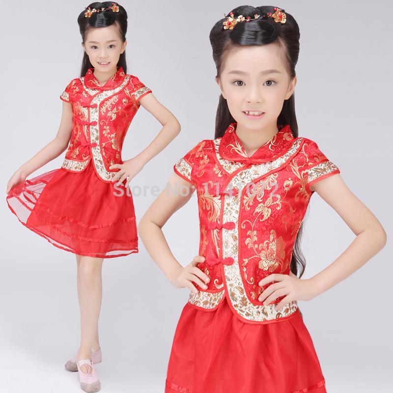 2015 New Design Chinese Style Child Dress Child Girl Cheongsam Girl Costume Tang Suit Free Shipping(China (Mainland))