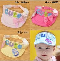 2015 children new born girls boys kids summer baby hat cute letter bow sun-shading visor comfy quick dry hat
