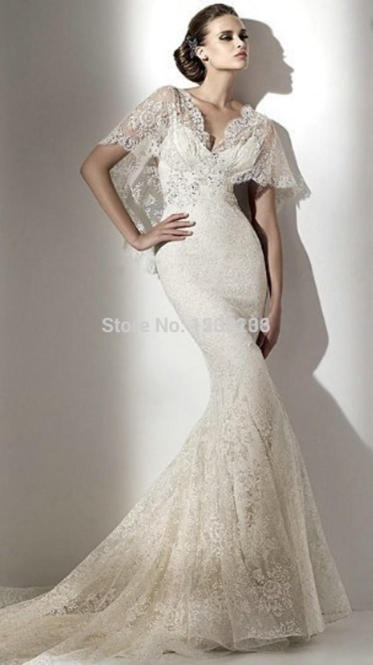 Popular bell sleeve wedding dresses aliexpress for Wedding dress bell sleeves