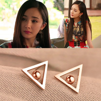 18k rose gold beads triangle stud earring female color gold earring earrings