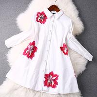 women work wear 2015 spring fashion white blue flowers embroidery shirt long t shirt women casual shirt