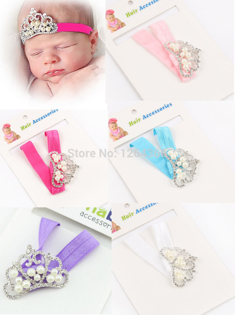 Retail Christmas Infant Tollder crown pearl Headband Princess Party Crown headwear Baby girls hair accessories Drop shipping(China (Mainland))