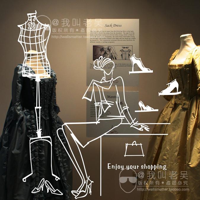Modelo cabide post / vitrine vitrine design layout de loja de roupas wallpaper / loja de sapatos decoração etiqueta de vidro grátis frete(China (Mainland))