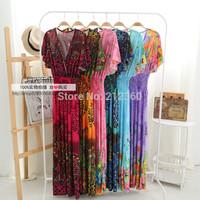 New fashion summer bohemia one-piece dress full beach dress short-sleeve long dress free shipping