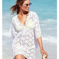 2015 Woman Sexy Lace Cotton Beach Dress Swimwear Cover Up Camisole Bikini biquines de praia Crochet Beachwear Blusas A1186