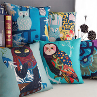 """Rural Countryside Forest Owl Throw Pillow Case Home Decor Cushion Cover Square 18"""" 45cm"""