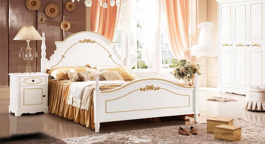 Baroque Style Golden Kids Bedroom Set Kid Solid Wood Decorative Furniture Bed Wardrobe Desk #9927(China (Mainland))