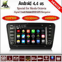 Android 4.4 1024*600 resolution Car GPS for Skoda Octavia 2014 with CPU 1.6Ghz dual core car dvd stereo wifi 1080p video OBD2