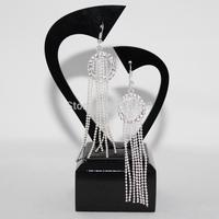 Women Silver Plated New Tassel Dangle Earrings Retro Long Drop Earrings Women Eardrop Fashion Jewelry chaine strass