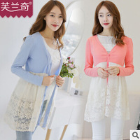 Free shipping Spring autumn 2015 new women fashion hit color lace sun shirt Slim sweet long knitted cardigan cheap wholesale