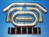"""TURBO INTERCOOLER PIPE 2.5"""" INCH ALUMINUM PIPING+T-CLAMPS+SILICONE HOSES BLUE"""