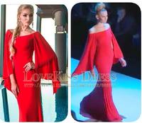 Scoop Neck Red Chiffon Mermaid Runway Sexy Prom Evening Dress 2015 Plus Size