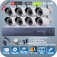 1080P 8CH NVR 2.0MP WIFI Camera kits mini Outdoor Waterproof Camera ONVIF H.264 3TB HDD Wireless Video Surveillance System