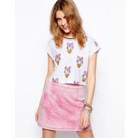 Fashion Slim Duck Print Harajuku Cartoon White T shirt for Women Casual Cotton Short Sleeve Summer Ladies Girls Tops Tees 30450