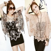 Ms embroidered translucent gauze loose smock15013003