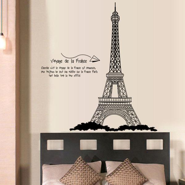 Adesivo de parede grátis frete DIY decoração da etiqueta sala de estar torre eiffel decoração AY726 AY9119 to LOVE HOME STORES(China (Mainland))