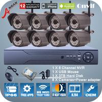 P2P 8Pcs 1080P 2.0Megapixel HD IR Night Vision Mini WIFI Camera ONVIF H.264 8CH NVR Home Wireless Video Surveillance System