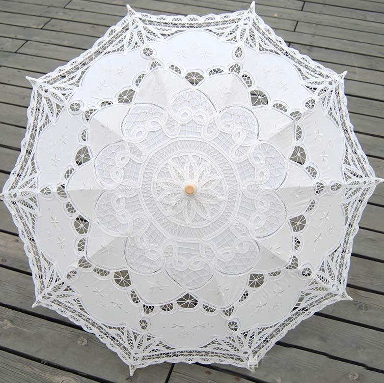 2015 branco do laço nupcial do guarda-chuva em estoque Romance guarda sol De casamento do Vintage rendas guarda-sóis De noiva Sombrinha De Renda XNS006(China (Mainland))
