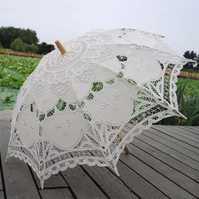 De alta qualidade do laço nupcial do guarda-chuva em estoque marfim guarda sol de Casamento do Vintage rendas guarda-sóis de noiva Sombrinha Casamento XNS006(China (Mainland))