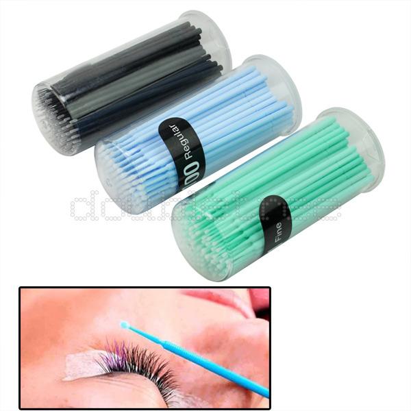 100pcs 2mm Disposable Swab Micro Brush Eyelashes Extension Makeup Tools Hot(China (Mainland))