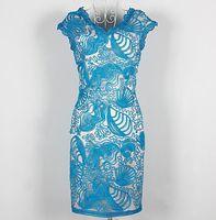 S-XXL 2015 new runway spring fashion Brand sexy V neck discoid flowers embroidery patchwork plus size one piece dress 371210