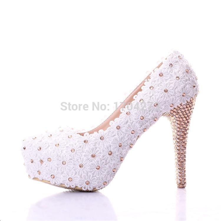 Lace Crystal Shoes Sapatos Femininos Salto Alto Ladies Pumps White Wedding Shoes Women Shoes High Heels Shoes Woman 2015(China (Mainland))