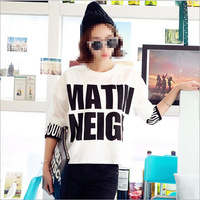 2015 Patchwork t shirt letter T-shirts cropped tops for women camisetas blusas womens clothes tee pullover print harajuku H1387