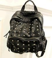 Washing ~ rivet motorcycle bag handbag wholesale backpack several package Korean women AD2496