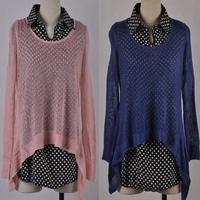 9023 cutout sweater shirt chiffon shirt twinset sweater  15013004