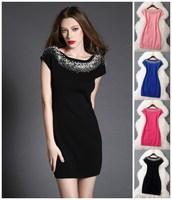 European and American fashion autumn spring handwork pearl casual dress dresses brand designer