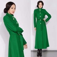 2015 New Fall Winter Womens  European Style Green Wool Coat , Female Slim Fitted Cashmere Overcoat The Elegant Coats for Woman