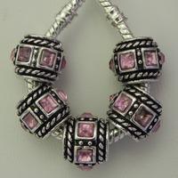 30Pcs Zinc Alloy Lite Pink Square Stone Antique Silver Sapcer Beads fits Charm Bracelets / Necklaces 10X12mm ZH4013