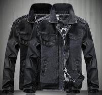 2015 Spring Autumn Fashion men's Denim jacket Casual Slim PU Leather Splicing turn-down collar Jeans Coat Tops