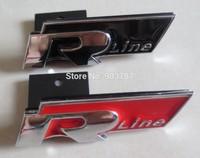 by DHL 100pcs/lot red / black 3D metal Rline R  front grill badges car glue sticker for VW  embelms badge decoration