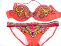 Drop shipping 100% Real photo sexy push up bikini swimsuit for women printed fashion swimwear red and green