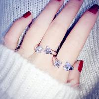 South Korean super delicate rhodium created diamond ring opening