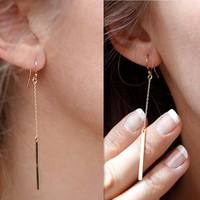 2015 Unique New Arrived Gold Plated Long Bar Dangle Earrings Hook Earrings Women Gift