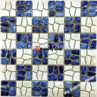 White porcelain mosaic kitchen tiles backsplash PCMT133 bathroom porcelain floor tiles blue swimming pool mosaic tile