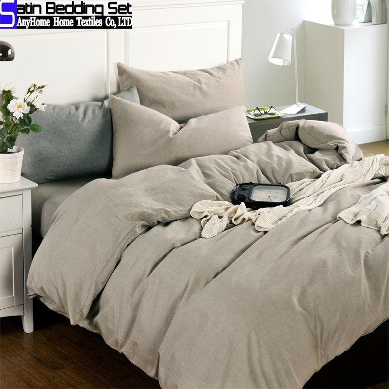 Pura cor cinza 100% de lavagem de algodão conjuntos de cama 4 pcs rei queen size edredom colcha tampa de cama capa de colchão lençol roupa de cama(China (Mainland))