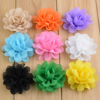 """Free Shipping 100pcs/ lot 20 colors High quality handmade 2"""" Mini Chiffon Flowers Flat Back for baby hair accessories"""