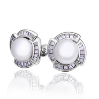 Beautiful Pearl Earrings For Women 18K White Gold With Crystal Stud Earrings Hottest Korea Design Fashion Earrings Jewelry PE017