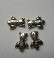 50Pcs Tibetan silver fish Charm Spacer Beads 14x10x3mm fits European Style Bracelets Necklaces ZH4016