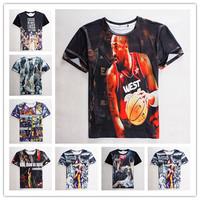 free shipping 2015 new 3d t shirt Basketball Character 3D Clothing short sleeve casual t-shirt men's thin print tees size S-XL