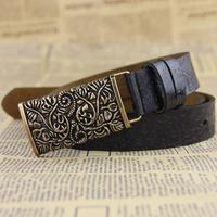Belt leather carve patterns or designs on woodwork belt leather belt belt ornaments female fashion joker hollow - out Wholesales