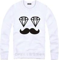 plus size M-4XL New 2015 winter autumn diamond moustache sweatshirt men women hip hop casual hoodies brand printed sportswear