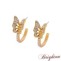 Swiss Cubic Zirconia Silver Plated Jewelry For Women Full Crystal Butterfly Hoop Earrings New 2015