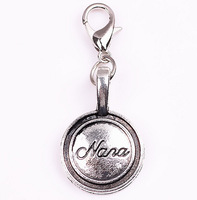 "50pcs/lot Silver "" nana "" heart Tag Floating Dangle Charms Pendant with Lobster clasp for Origami Owl Locket"