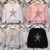 5pcs/lot 2015 spring new arrival girls star printed long sleeve t shirt kids cotton tops 1152